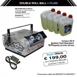 Macchina per le bolle Double Roll Ball + 20lt Bubble fluid standard