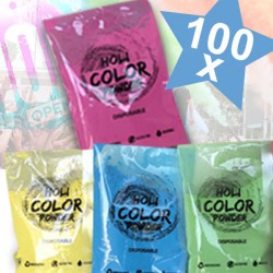 KIT 100 Bustine da 70gr Holi Powder Monodose Blue Fucsia Green Yellow .Polvere da lancio