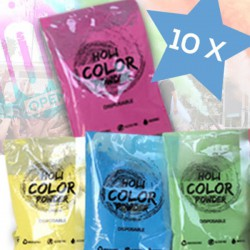KIT 10 Bustine da 70gr Holi Powder Monodose Blue Fucsia Green Yellow .Polvere da lancio