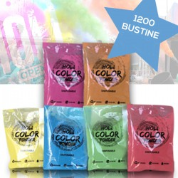 KIT 1200 Bustine da 70gr Holi Powder Monodose Blue Fucsia Green Orange Red Yellow .Polvere da lancio